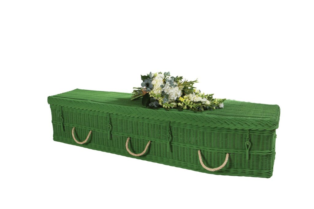 Natural Woven Hand-Painted Deep Green Traditional Coffin