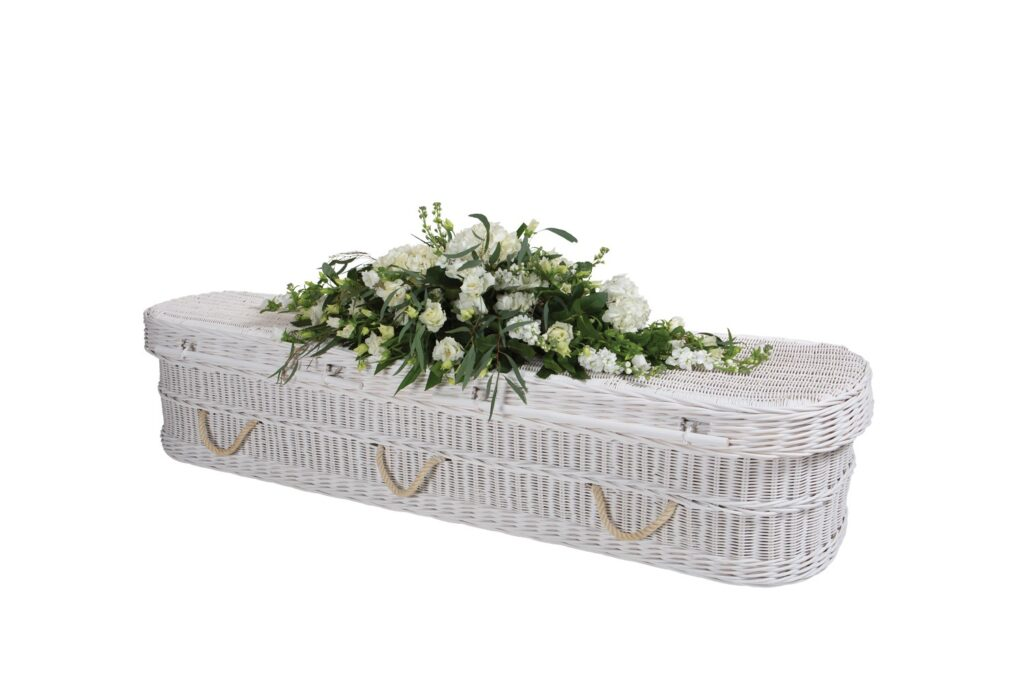 Natural Woven Hand-Painted White Curved Coffin