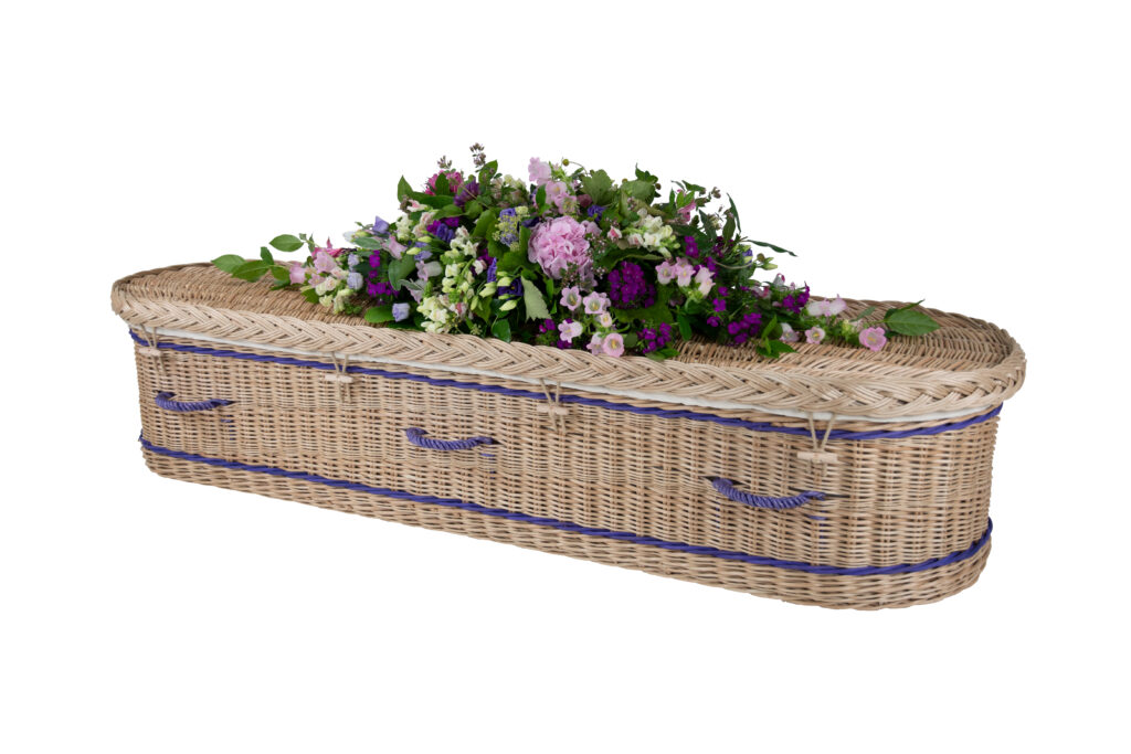Somerset Willow Curved Coffin in Gold Willow Plain with Purple Bands & Handles