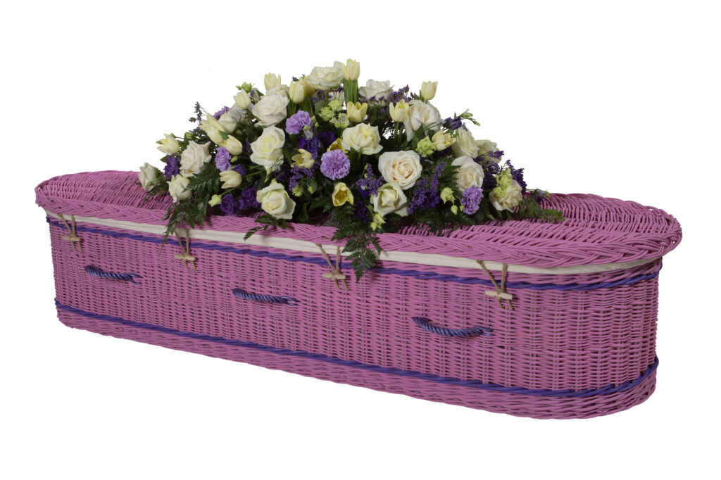 Somerset Willow Painted Curved Coffin in Pink with Purple Bands & Handles