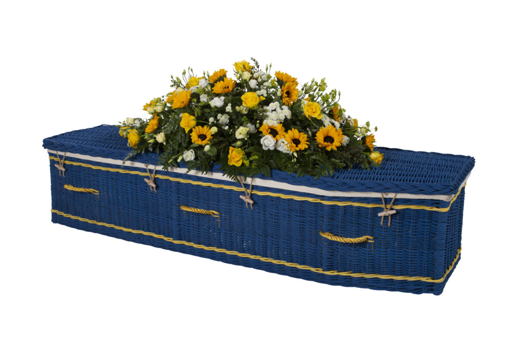 Somerset Willow Painted Traditional Coffin in Deep Blue with Yellow Bands & Handles