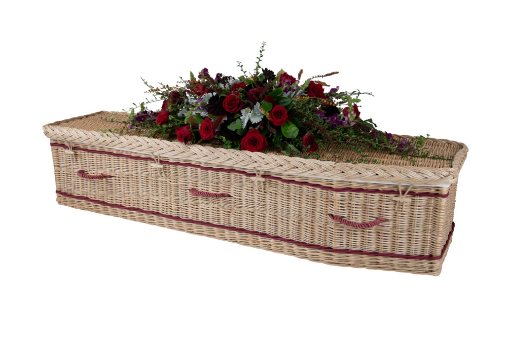 Somerset Willow Traditional Coffin in Gold willow with Burgundy Bands & Handles